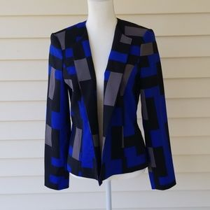 Blue black and grey Kasper Color Block Blazer 8